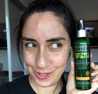 Applying Andalou Naturals Clementine + C Illuminating Toner :: The Acne Experiment