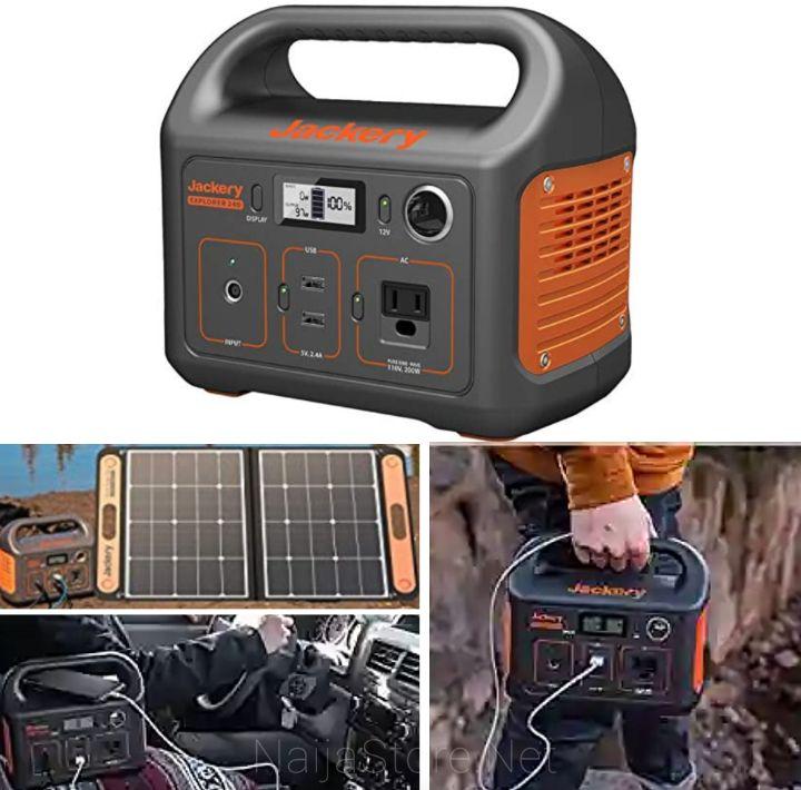 Jackery Mini Power Station Inverter - Explorer 240 Noiseless Generator with 240Wh Battery Chargeable via Solar Panels