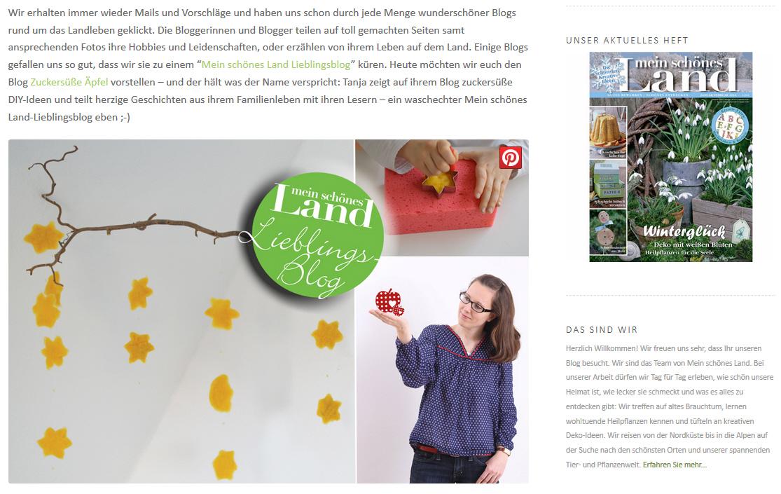 Mein Schönes Land Anleitungen in der presse zuckersüße äpfel kreativer familienblog