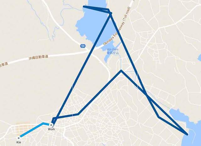 screenshot Google Maps timeline, Kin Town, Okinawa