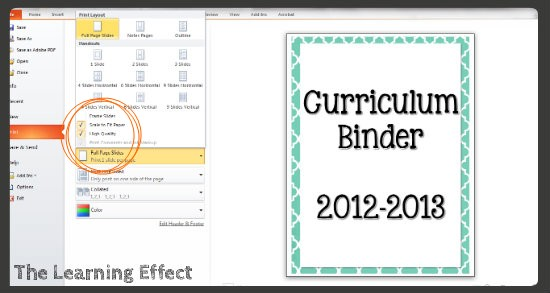 Technology Tutorial Making Binder Covers  Spines - The Learning Effect