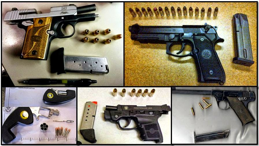 Clockwise from top left, firearms discovered at: BNA, CLT, PHX, RSW & RAP