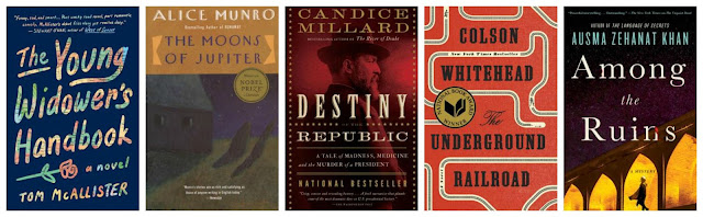 book covers of the young widower's handbook, the moons of jupiter, destiny of the republic, the underground railroad and among the ruins