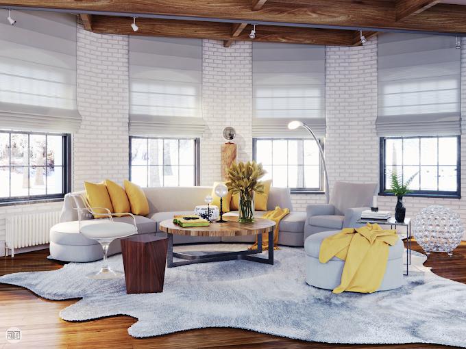 Living room design and render, US