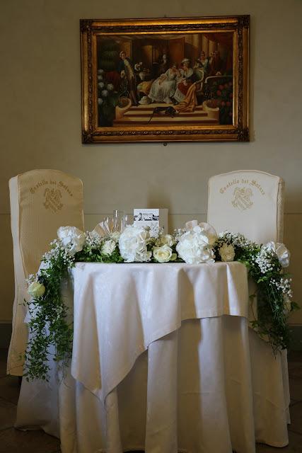 Centrotavola sposi su festone