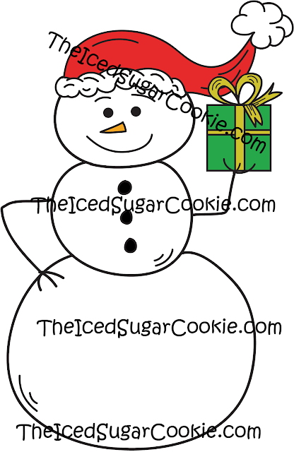 Snowman Holding Christmas Present Clip Art-Commercial Use