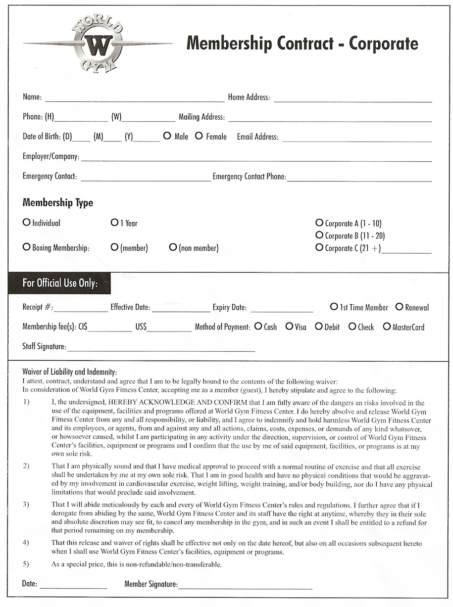 exercise contract template - world gym cancellation form