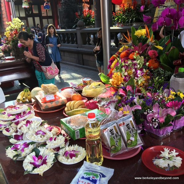 offerings table at Longshan Temple/Mengjia Longshan Temple in Tapei, Taiwan