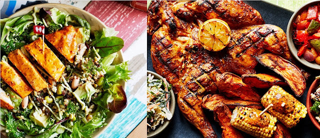Ceasar salad e opção de Platter com frango inteiro, ideal para compartilhar (imagem reprodução - retirada de nandos.co.uk)