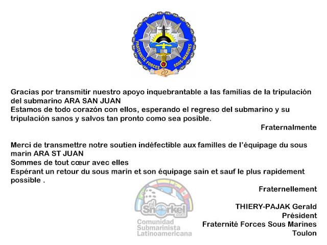 Comunidad Submarinista Internacional esperando que vuelva el ARA San Juan