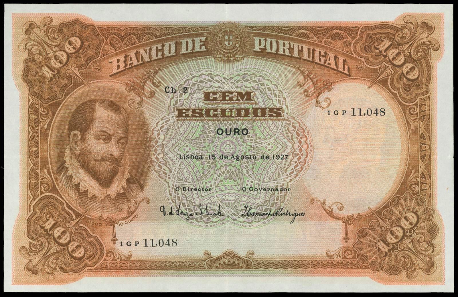 Portugal 100 Escudos banknote 1927 Diogo de Couto