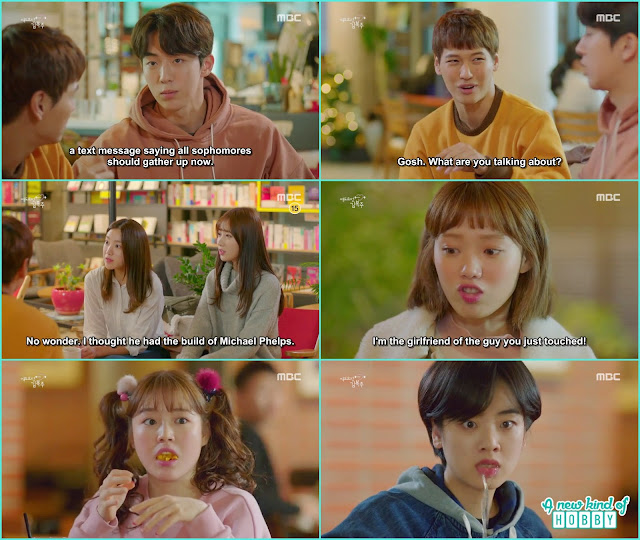 bok joo caught joon hyung red handed on the date and revealshe is the girlfriend of swimmer joon hyung -  Weightlifting Fairy Kim Bok Joo: Episode 14