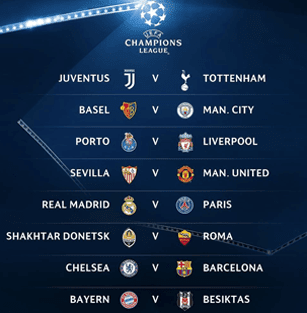 Hasil drawing Liga Champions round 16