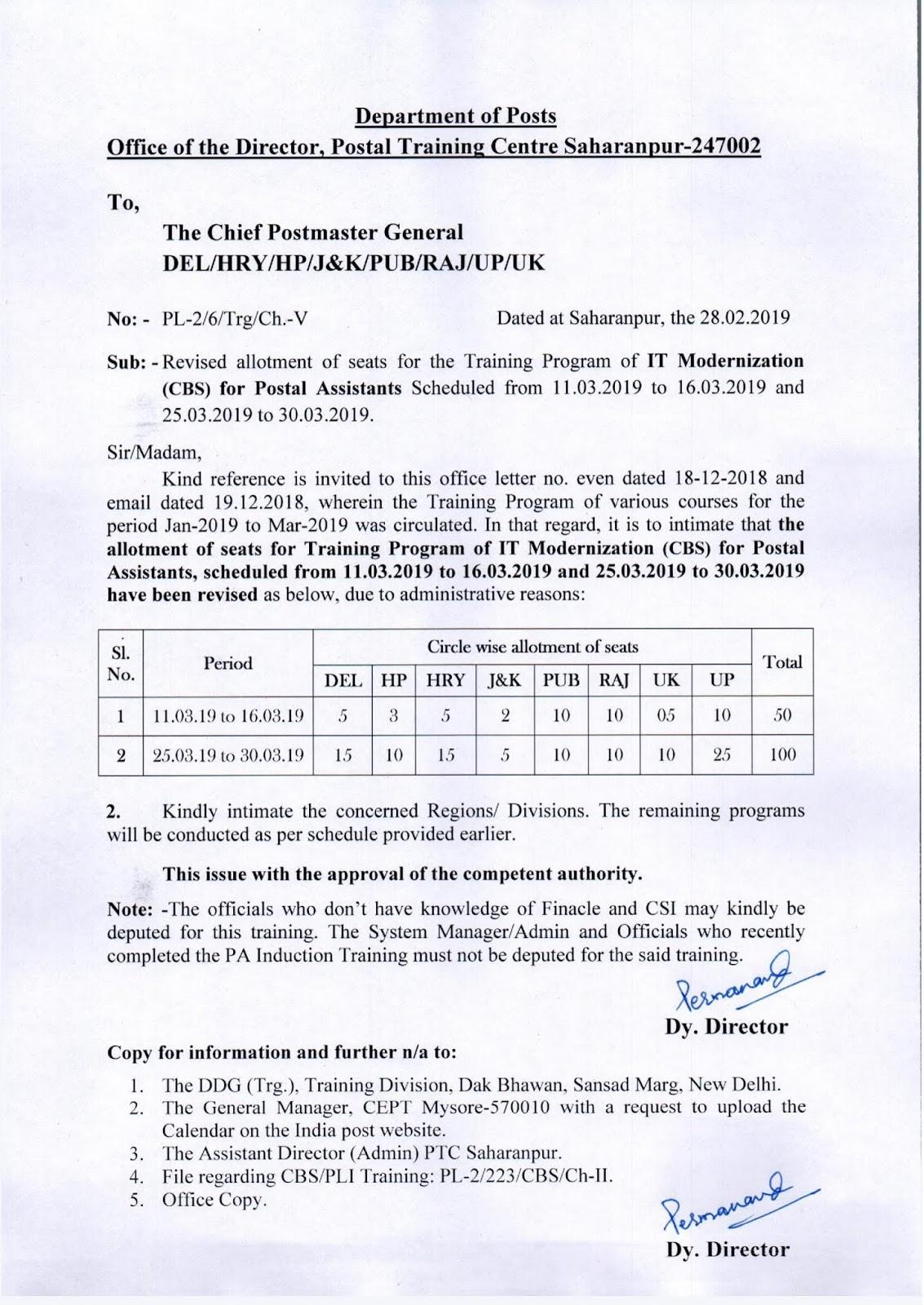 Postal Training Centre, Saharanpur : Revised allotment of