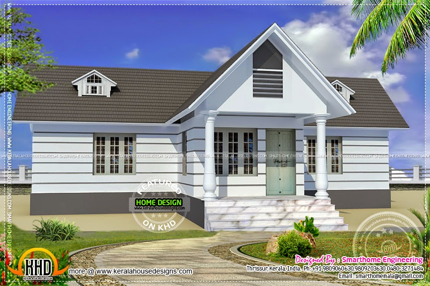 Western style small one storied home kerala home design for Western home plans
