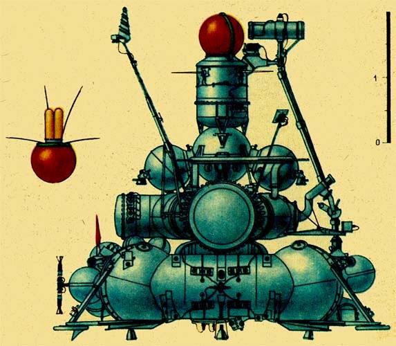 Rappresentazione schematica della sonda sovietica Luna 15.