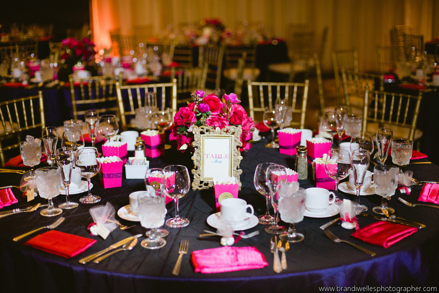 Sea Of Blossoms Los Angeles Fuchsia Navy Blue Gold Wedding