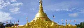 Indahnya Replika Shwedagon Pagoda di Taman Alam Lumbini