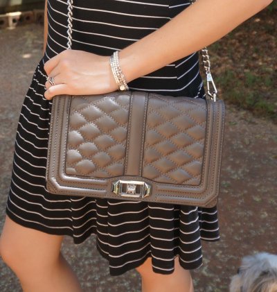 Rebecca Minkoff Grey Cross body Love bag worn with striped dress