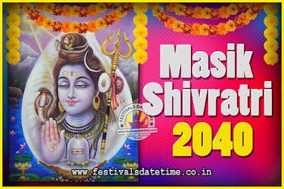 2040 Masik Shivaratri Pooja Vrat Date & Time, 2040 Masik Shivaratri Calendar