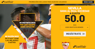 betfair supercuota Sevilla gana al Real Sociedad 4 noviembre