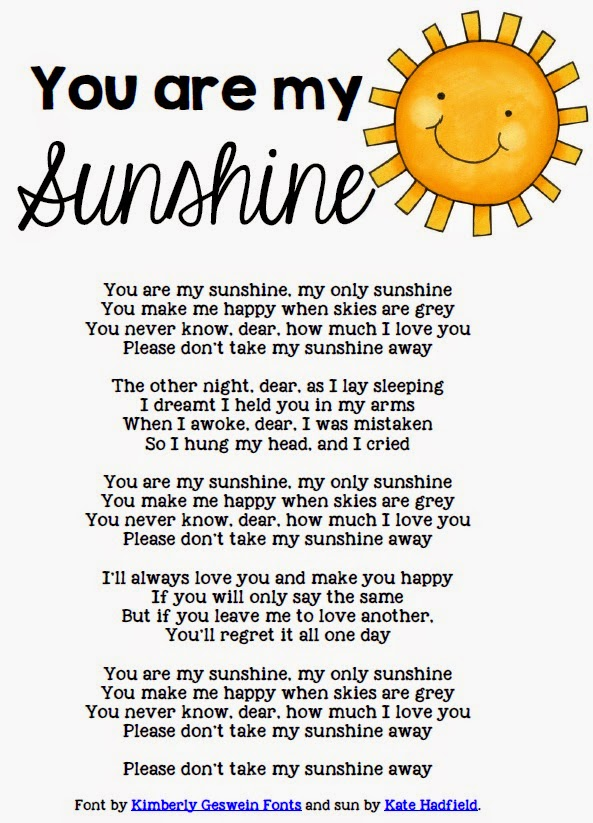 You Are My Sunshine Love Poem