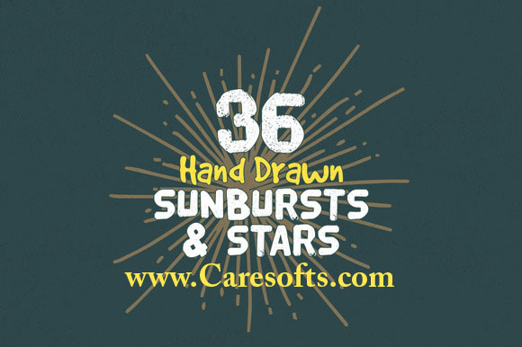 36 Hand Drawn Sunbursts and Stars Free Download