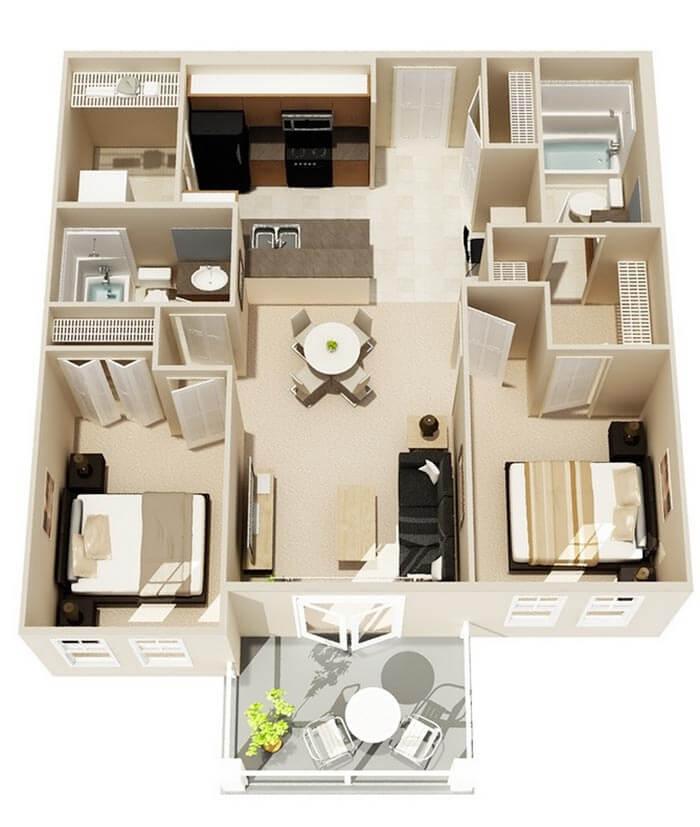 2+1 3d ev planları