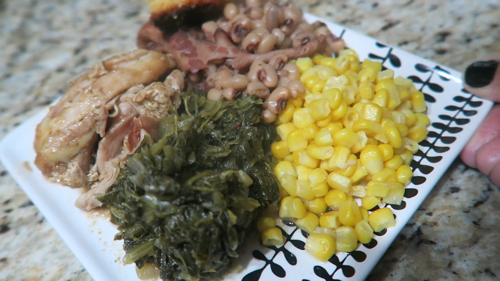 Image: Home cooked meal. Chicken corn greens corn bread, and peas
