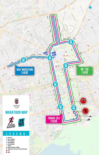 Tirana marathon map