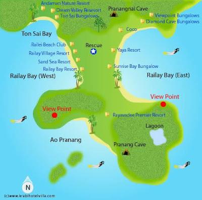 Mapa de Railay beach