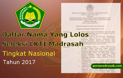 Lolos Seleksi Proposal LKTI Madrasah Tingkat Nasional 2017