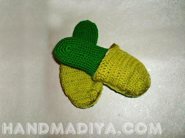 Вяжем крючком детские тапочки. Knit crochet slippers for children