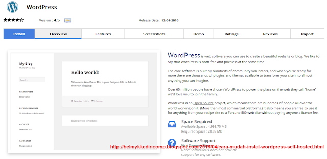 Tahap 2 Instalasi Wordpress Self Hosted - Softaculous Cpanel