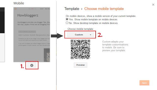 Set Custom mobile template in blogger for lightbox