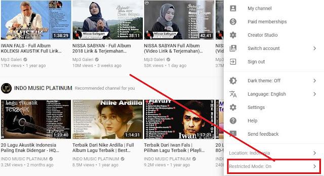Cara Menonaktifkan Restricted Mode Youtube