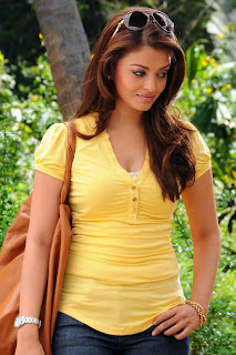 Aishwarya In Yellow Top And Blue Jeans