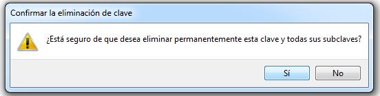 Cuadro de dialogo para confirmar la eliminacion de la clave del registro