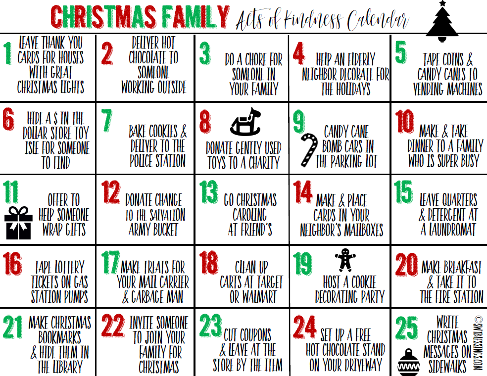 Sweet Blessings: December Random Acts of Kindness Calendar