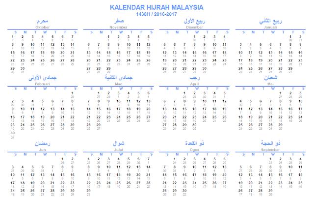 Kalendar Hijrah Malaysia 1438H 2016-2017 (bersama tarikh masihi)