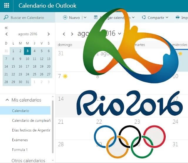 Outlook.com te acerca el calendario de los Juegos Olímpicos Río 2016