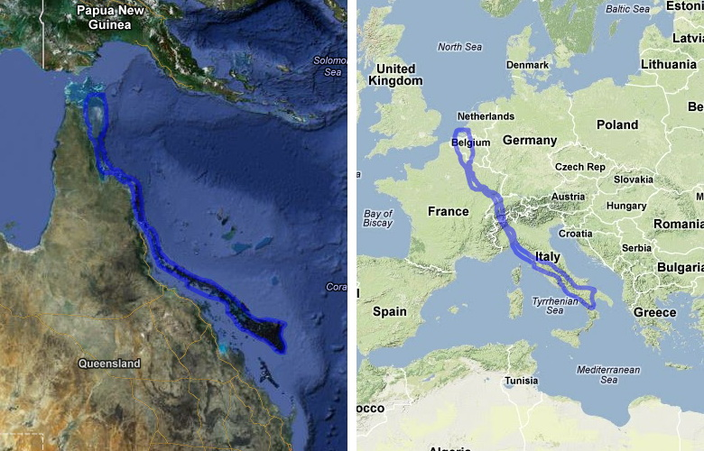 Size comparison of the Great Barrier Reef and Central Europe