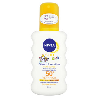 CHEAP Nivea Sun Kids Protect and Sensitive Sun Spray Very High SPF 50+ 200ml – £4.79
