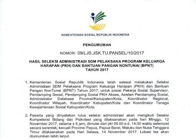 Download Pengumuman Hasil Seleksi Administrasi Pendamping PKH Tahun 2017