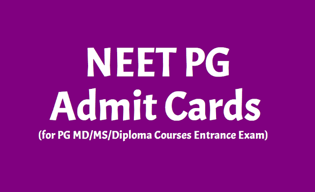 NEET PG admit cards