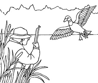 Hunting Flying Duck On River Coloring Pages Animals