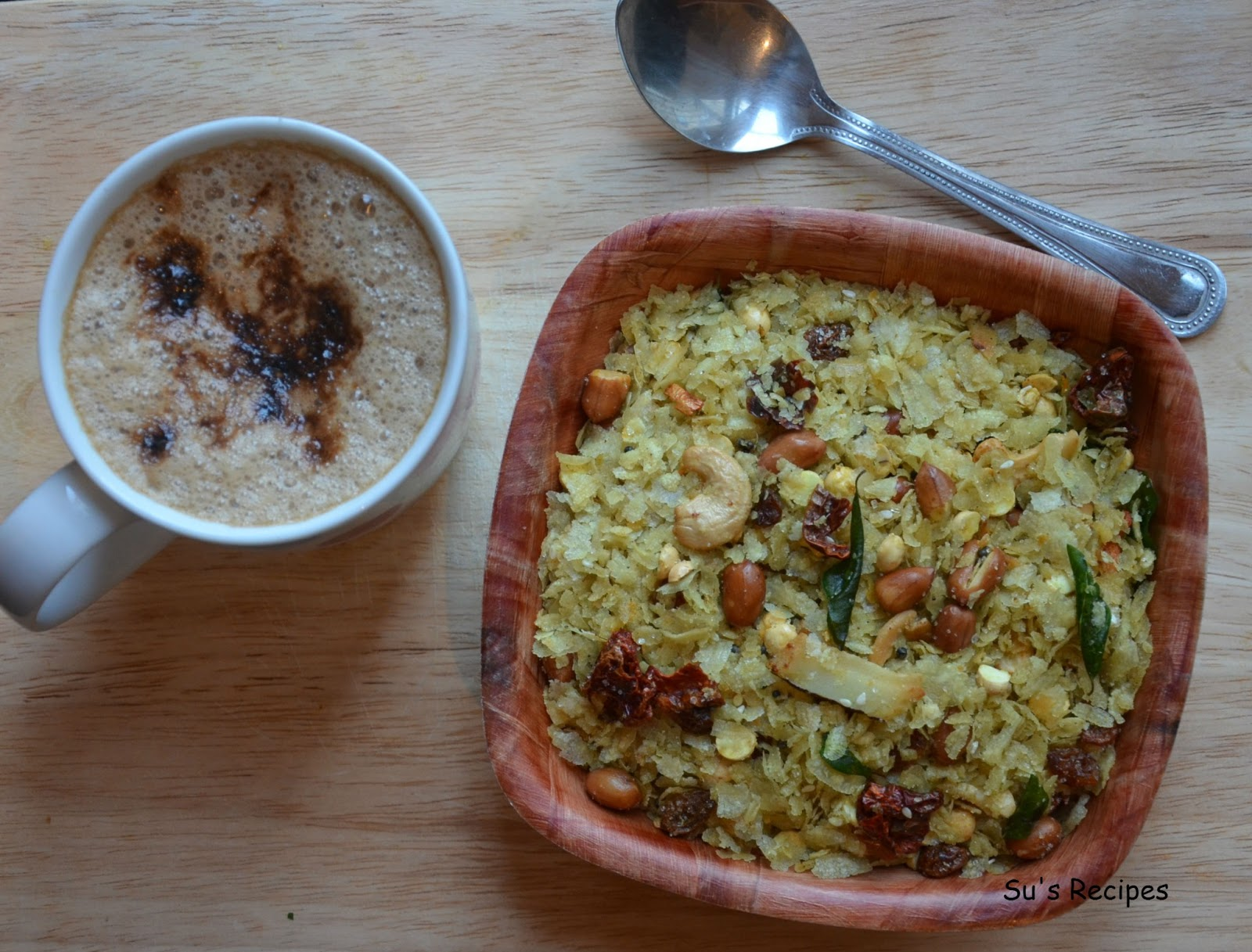 chivda mixture, pohe, poha, atukulu, aval, fried poha, snacks, Indian tea-time snack