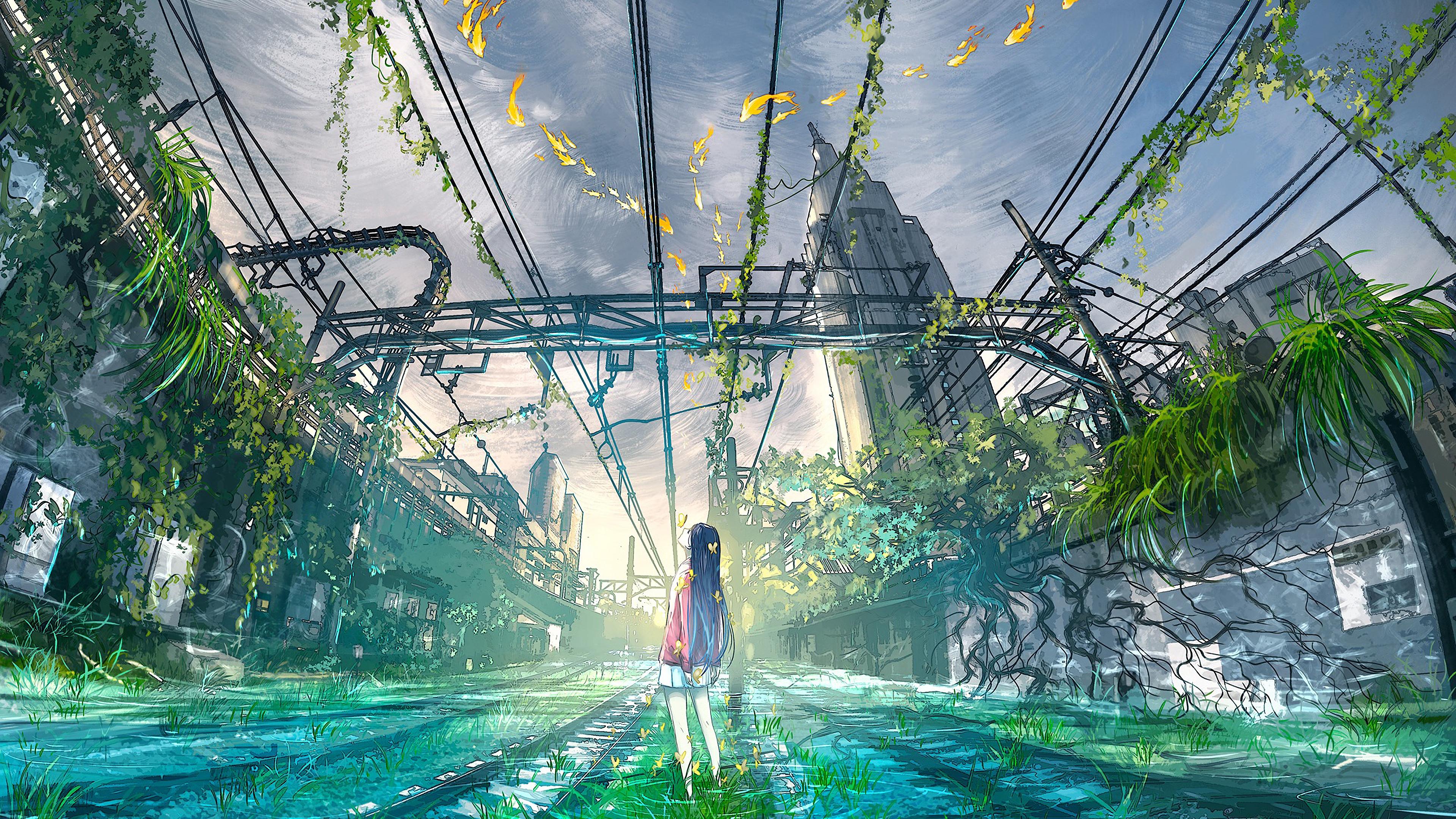 Anime, Girl, Scenery, 4K, #180 Wallpaper