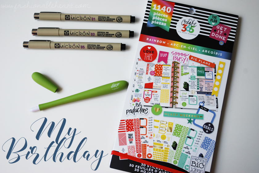 bbloggers, bbloggersca, canadian beauty bloggers, lbloggers, lifestyle, birthday, gifts, my birthday, michaels, currys, mambi, me and my big ideas, slice pen, pigma micron, pens, planners, office supplies