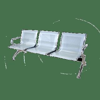 Jual kursi tunggu steinless steel silver 3 sheet
